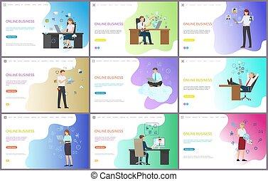 働いている人達, コンピュータ, ビジネス, pc, オンラインで