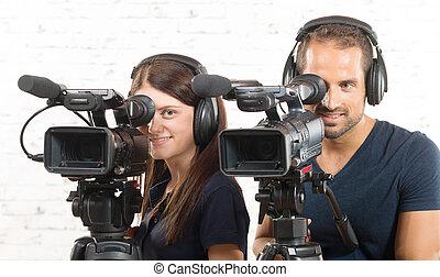 働く女性, ビデオカメラ, 人