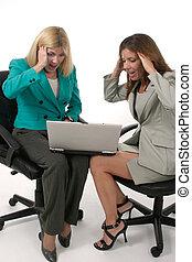 働く女性, ラップトップ, ビジネス, 6, 2