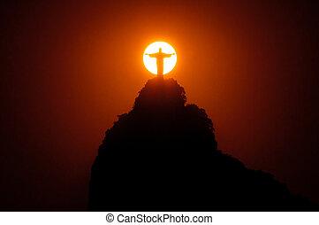 像, キリスト, 太陽, 救助者, の後ろ