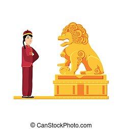 像, ライオン, 金, 中国語, 人