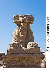 像, ラム先頭に立たれる, エジプト, karnak., スフィンクス, ルクソール