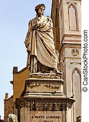 像, croce, フィレンツェ, ファサド, dante, イタリア, バシリカ, santa