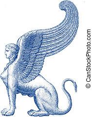 像, illustratio, スフィンクス, -, ベクトル