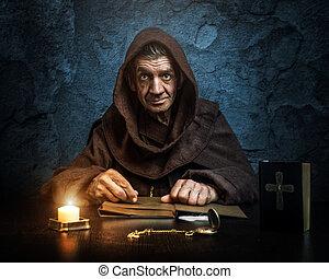 僧侶, -, 牧師, 所作, 燭光, -, 聖經, 閱讀