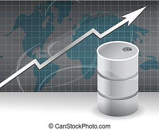 價格, 上升, 油