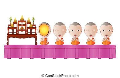 儀式, 祈禱, 宗教, 僧侶, 卡通