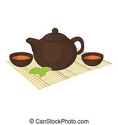 儀式, 茶, 圖象, 風格, 卡通