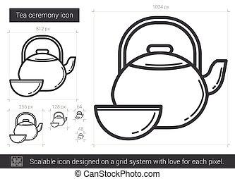 儀式, 茶, 線, icon.