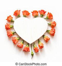 優しい, オレンジ, ばら, 取り決められた, ∥ように∥, 心, 白, バックグラウンド。, 上, ビュー。, 花, pattern., 平ら, lay., コピー, space.