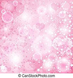 優しい, ピンク, バレンタイン, 背景