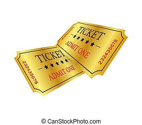 優れた, 入口, tickets., ticket., 現実的, 古い, 金, 映画館, ショー