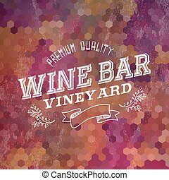 優れた, 型, イラスト, ラベル, 背景, バー, ワイン