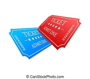 優れた, 青, 入口, ticket., 現実的, 古い, 映画館, ショー, 切符, 赤