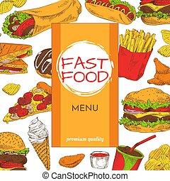 優れた, 食物, メニュー, イラスト, ベクトル, 速い, 品質