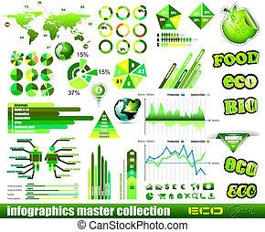 優れた, eco, 緑, infographics, マスター, collection:
