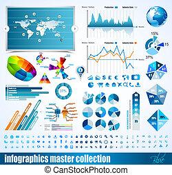 優れた, histograms, 要素, アイコン, 地球, グラフ, チャート, デザイン, 矢, たくさん,...