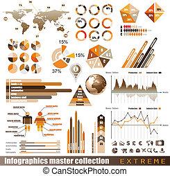 優れた, histograms, elements., アイコン, 地球, グラフ, チャート, デザイン, 矢, たくさん, infographics, マスター, collection:, 関係した, 3d