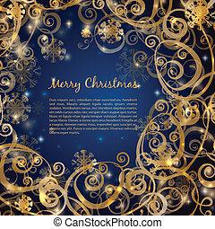 優雅である, クリスマス, 暗い 青, ∥で∥, 金, 背景