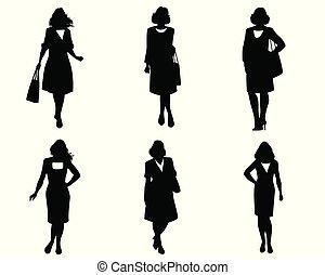優雅である, シルエット, セット, 女性