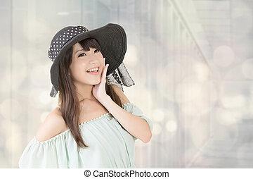 優雅である, 女, 帽子, アジア人