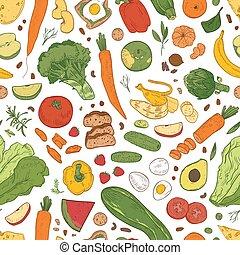 優雅である, 現実的, パターン, 野菜, seamless, 織物, バックグラウンド。, 成果, 引かれる, 白, 包むこと, 食物, イラスト, 手, プロダクト, print., 食料雑貨, 有機体である, 健康, ペーパー, ベクトル, ベリー