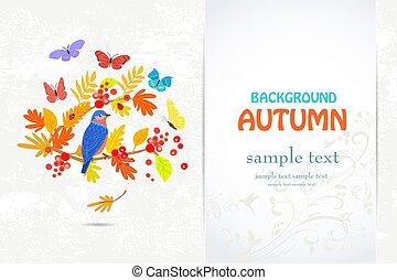 優雅である, 秋, 招待, あなたの, 木, 鳥, ブランチ, カード