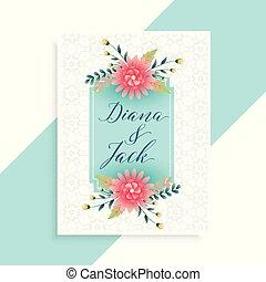 優雅である, 結婚式, カード, テンプレート, 招待