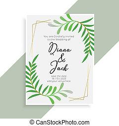 優雅である, 結婚式, デザイン, カード, 招待