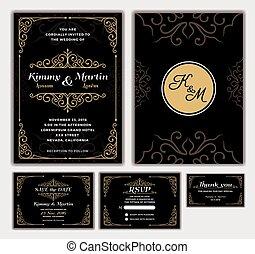 優雅である, 結婚式, デザイン, 招待