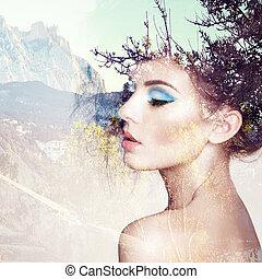 優雅である, 肖像画, ヘアスタイル, 美しい, sensual, 女