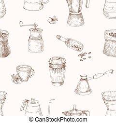優雅である, 道具, 輪郭, スタイル, 型, seamless, 織物, バックグラウンド。, 引かれる, コーヒー, 醸造, 包むこと, イラスト, 手の跡, wallpaper., ペーパー, ライト, ライン, 現実的, ベクトル, パターン