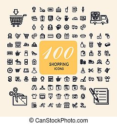優雅である, 100, セット, 買い物, アイコン
