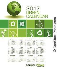 優雅である, 2017, 緑, カレンダー