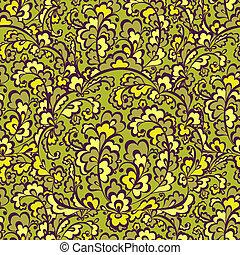 優雅である, vegetative, pattern., 緑, seamless