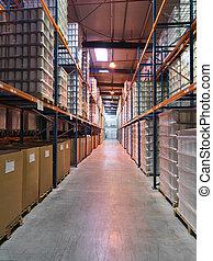儲存, 區域, 在, an, 工業的倉庫