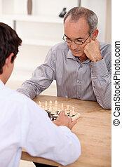 儿子, 父亲, 国际象棋, 玩
