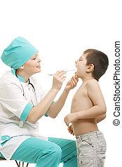 儿科醫生, 檢查, 咽喉