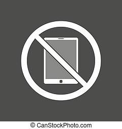 允許, 矢量, 個人電腦, 被隔离, 不, 插圖, 信號, 片劑