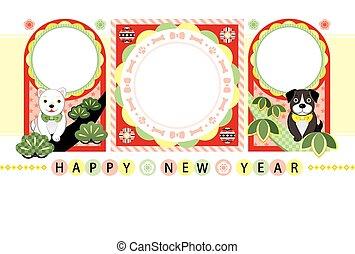 元日, カード, テンプレート, 日本語, 犬, カラフルである, ポンとはじけなさい, 写真フレーム, 新年おめでとう