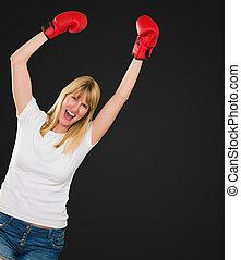 元気づけること, ボクサー, 女性, 幸せ