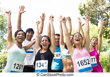 元気づけること, 公園, マラソン, ランナー