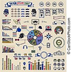 元素, 在中, infographics