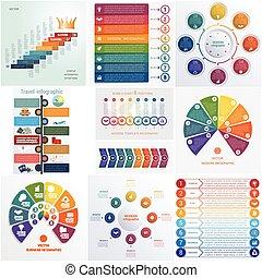元素, 模板, 8, 普遍, 集合, 概念性, infographics, 位置, 10, cyclic, 過程