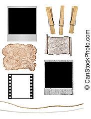 元素, 為了創建, 你, 自己, 即顯膠片, 或者, grunge, 紙, 懸挂, 從, 晒衣繩, 由于,...