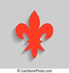 元素, 為, design., vector., 紅色, 圖象, 由于, 軟, 陰影, 上, 灰色, 背景。