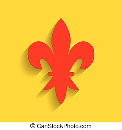 元素, 為, design., vector., 紅色, 圖象, 由于, 軟, 陰影, 上, 黃金, 背景。