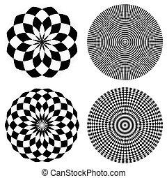 元素, 由于, 交替變換, marble-like, 圓, pattern., 同心, 被 chequered, 質地