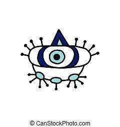 元素, 矢量, 描述, 护身符, 装饰, 眼睛, 邪恶, 卡通漫画, isolated.