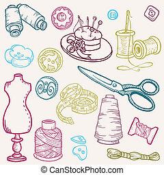元素, 縫紉, -, 手, 矢量, 設計, doodles, 畫, 成套用具